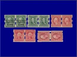 ETATS UNIS Roulettes Yvert:Vending Machine, Lot De 5 Paires Différentes Avec Perforations Spéciales      - Qualité: X - United States