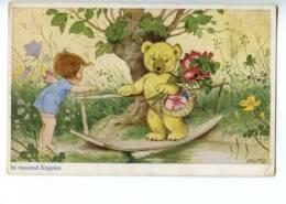 120929 Winged Elf & TEDDY BEAR On Bridge By BAUMGARTEN Old PC - Baumgarten, F.
