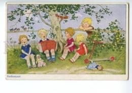 120930 Kids W/ Bayan & Dolls & Kick Scooter By BAUMGARTEN Old - Baumgarten, F.