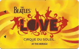 Mirage Casino Las Vegas Beatles Hotel Room Key Card (3 Lines Text Bottom Reverse Under Line) - Hotel Keycards