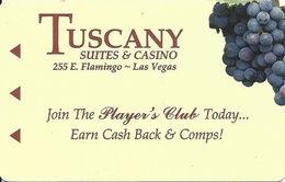 Tuscany Casino - Las Vegas, NV - Hotel Room Key Card With Cpi 2047881 Over Mag Stripe - Hotel Keycards