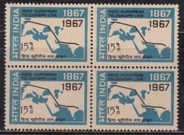 Block Of 4, MNH India, 1967 Indo European Telegraph Service, Telecom . Map - Blocks & Sheetlets