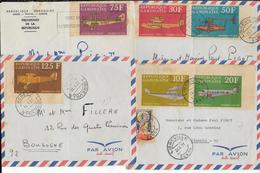 1971 - GABON - TIMBRES NON DENTELES POSTE AERIENNE RARES SUR 4 LETTRES De LIBREVILLE => FRANCE - Gabon
