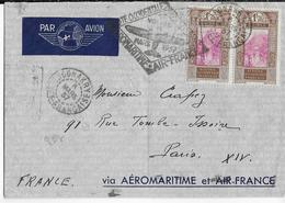 1937 - GUINEE - AEROMARITIME Et AIR FRANCE - ENVELOPPE Par AVION De CONAKRY => PARIS - Poste Aérienne