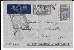 1937 - COTE D'IVOIRE - AEROMARITIME Et AIR FRANCE - ENVELOPPE Par AVION De ABIDJAN => PARIS - Côte-d'Ivoire (1892-1944)