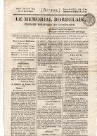 """"""" LE MÉMORIAL BORDELAIS """" N° 102 . FEUILLE POLITIQUE ET LITTÉRAIRE . 30 JUIN 1814 - Réf. N°69F - - 1800 - 1849"""