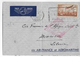 1937 - AEROMARITIME Et AIR FRANCE - ENVELOPPE Par AVION De PARIS => MONROVIA (LIBERIA) - Poste Aérienne