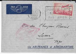 1937 - AEROMARITIME Et AIR FRANCE - ENVELOPPE Par AVION De PARIS => LOME (TOGO) - 1927-1959 Lettres & Documents