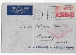 1937 - AEROMARITIME Et AIR FRANCE - ENVELOPPE Par AVION De PARIS => CONAKRY (GUINEE) - Poste Aérienne