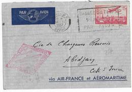 1937 - AEROMARITIME Et AIR FRANCE - ENVELOPPE Par AVION De PARIS => ABIDJAN (COTE D'IVOIRE) - Poste Aérienne