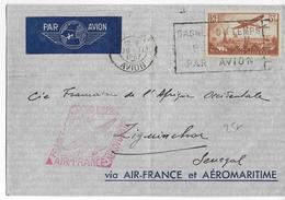 1937 - AEROMARITIME Et AIR FRANCE - ENVELOPPE Par AVION De PARIS => ZIGUINCHOR (SENEGAL) - 1927-1959 Lettres & Documents