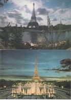 75 - PARIS - TOUR EIFFEL ET LA SEINE - ET VUE DES JARDINS DU TROCADERO   - LOT DE 2 CPSM - Tour Eiffel