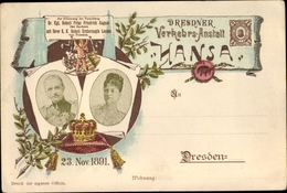Lithographie Dresdner Verkehrsanstalt Hansa, 23. November 1891, Friedrich August III., Vermählung - Familles Royales
