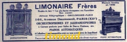 LIMONAIRE FRERES / PARIS / ORCHESTROPHONES JAZZBANDOPHONES PIANOS AUTOMATIQUES.. / PUB 1928 - Unclassified