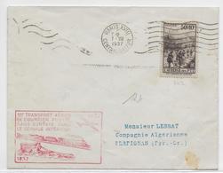 1937 - LETTRE Par AVION De PARIS => PERPIGNAN - 1° COURRIER AERIEN SANS SURTAXE - 1927-1959 Lettres & Documents