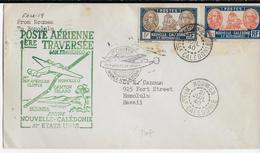 1940 - CALEDONIE - LETTRE Par AVION 1° VOL NOUVELLE CALEDONIE - USA De NOUMEA => HAWAII - Covers & Documents