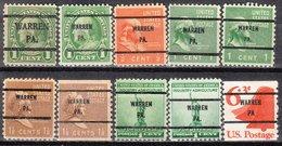 USA Precancel Vorausentwertung Preo, Bureau Pennsylvania, Warren 10 Diff. Bureaus - Vorausentwertungen