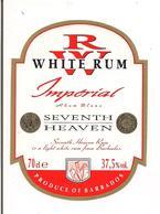 """Etiquette  White Rhum """" Seventh Heaven """" Produce Of Barbados - - Rhum"""