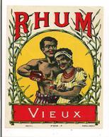 Etiquette  Rhum  Vieux - Imprimeur Jouneau - Vers 1925 - - Rhum