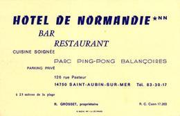CARTE DE VISITE - HOTEL DE NORMANDIE- SAINT AUBIN SUR MER - Visiting Cards