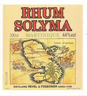 Etiquette  Rhum  Solyma - Martinique - Distillerie Revel & Fossorier, Lyon - Imrimeur Gougenheim - - Rhum