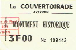Ancien Ticket D'entrée La Couvertoirade, Aveyron, Monument Historique (années 1970) - Tickets D'entrée