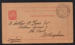 FUNCHAL - MADEIRA / 1892 ENTIER POSTAL PRECURSEUR POUR L'ANGLETERRE (ref LE2351) - Funchal