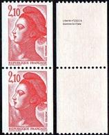 France Liberté De Gandon N° 2322 B ** Le 2f10 Rouge - Roulette Gomme Brillante En Paire - 1982-90 Liberté (Gandon)
