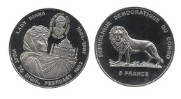 5 FRANCS 1992 . VISITE DE L'INDE PAR LADY DIANA - Congo (República Democrática 1998)
