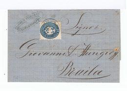 Timbre Sur Lettre De Lombardie Occupée. Année 1868. (503) - Marcophilie - EMA (Empreintes Machines)