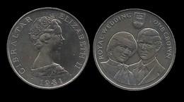 ELIZABETH II . 1 CROWN 1981 . - Gibraltar
