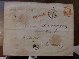 24.05.18-LSC De Paris J Sur N°16A Chargé ,cachet Rouge Au Vero A Voir!! - 1849-1876: Période Classique