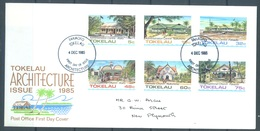 TOKELAU - 4.12.1985 - FDC -  ARCHITECTURE ISSUE - Mi 117-122 Yv 124-129 - Lot 16770 - Tokelau