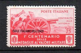 Egeo 1934  Medaglie N. 86  75 Cent Rosso MLH* Sassone 60 Euro - Egée