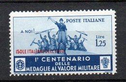 Egeo 1934  Medaglie N. 87  1,25 Cent Azzurro MLH* Sassone 60 Euro - Egée