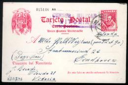 E-ENTEROS POSTALES. 1938 (28 Abril). Vitoria A Holanda. Tarjeta Entero Postal 45cts.rojo / Cervantes. Num.015146AA. Con  - Spain