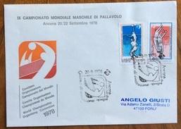 CAMPIONATO MONDIALE PALLAVOLO  20/9/78 FRANCOBOLLI  ED ANNULLO SPECIALE SU BUSTA UFFICIALE DEI CAMPIONATI - Pallavolo