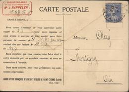 Relance Paiement Manufacture Armes Et Cycles Fusil Vélo St Saint Etienne CP Usine N°3 YT 237 Semeuse Camée Bleu 40 Ct - 1921-1960: Modern Period