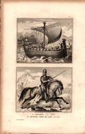 Angleterre - Vaisseau En 1066 - Richard Coeur De Lion (en 1189) - Estampes & Gravures