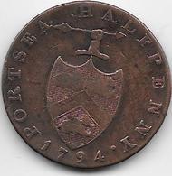 Grande Bretagne - 1/2 Penny - 1794 - 1662-1816 : Acuñaciones Antiguas Fin XVII° - Inicio XIX° S.