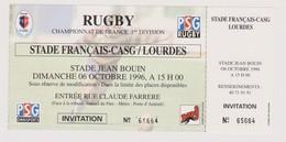 Ticket Collection RUGBY : Stade Français CASG - Lourdes 06/10/1996 - Tickets - Entradas