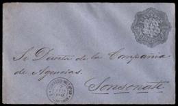 SALVADOR, EL. 1892 (e Sep). Metapan To Sonsonate. 5c Grey/blue Stat.envelope. Very Scarce Locally Used.. Cartas. Antonio - El Salvador