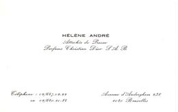 Visitekaartje - Carte Visite - Hélène André - Attachée De Presse - Parfums Christian Dior - Bruxelles - Cartes De Visite