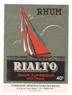 Etiquette De  Rhum Supérieur Martinique  -  Rialto  -  CMR à Paris  (75) - Rhum