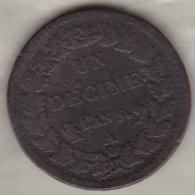 Directoire . Un Decime L'An 5 A Paris - D. 10 Centimes