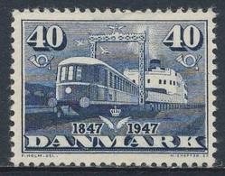 "Danmark Denmark Dänemark 1947 Mi 300 YT 313 ** Diesel-electric Train ""Lyntog"", Train Ferry ""Fyn""/ Diesel-Triebwagenzug - Treni"