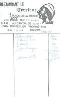 Facture Du Restaurant Le Térrisse, Place De La Marine, Agde + Feuillet Publicitaire (vers 1975) - Sports & Tourisme