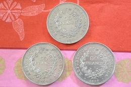 3  Pièces De 50 Francs Argent (2 De1977; 1 De 1975) Très Bon état - France
