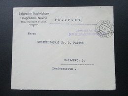 Österreich / Bosnien 1916 Belgrader Nachrichten. KuK Etappenpostamt Belgrad. Administration Der Belgrader Nachrichten - Bosnien-Herzegowina