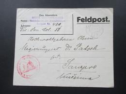 Österreich 1917 Feldpost Mobile Chirurgentruppe Oberstabsarzt Dr. Preindlsberger. Roter Truppenstempel. Nach Sarajevo - 1850-1918 Imperium